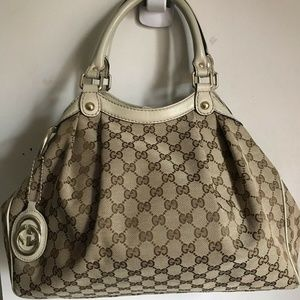 GUCCI Vintage Large Canvas Hobo Bag With White Lea